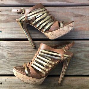 MIU MIU Cork Gold Platform Strappy Heels Sandals